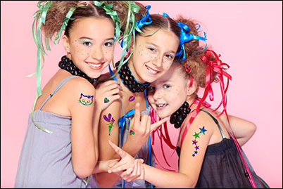 Glitter tatoo package party port macquarie by scaramouche for Little kid tattoos